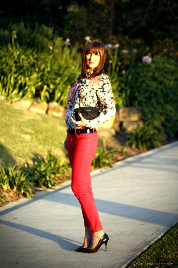 coloured denim, floral print, styling, summer 2012 fashion, fashion blogger