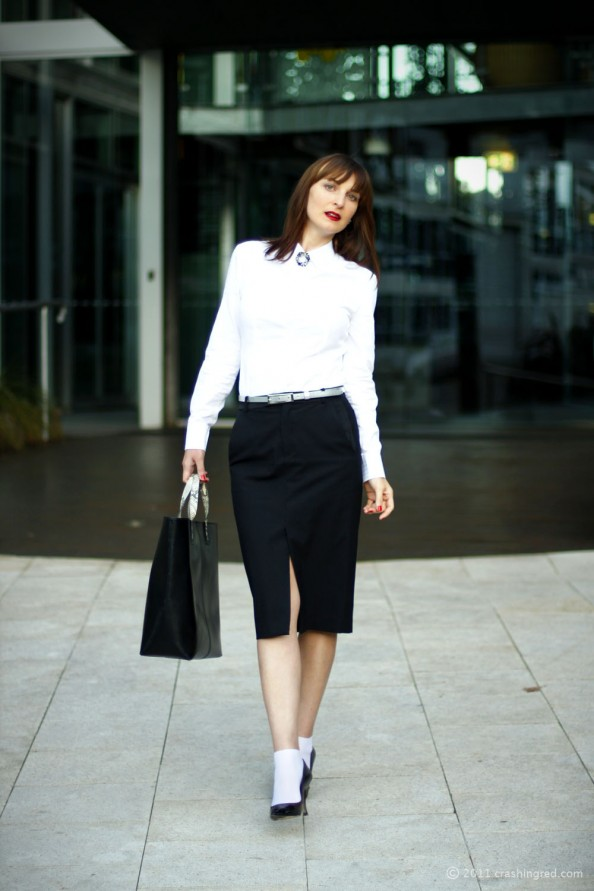 how to wear midi skirt, new lenght, fashion trend 2012 summer for office, Zara tote