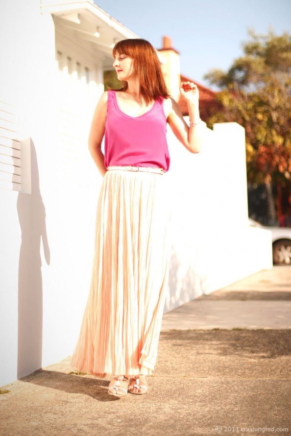 peach maxi skirt, fuchsia shell top, summer wear, what to wear for christmas lunch, fashion blog australia