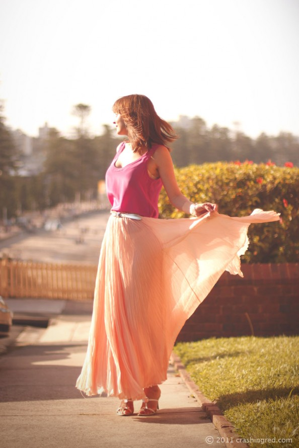 peach maxi skirt, fuschia shell top, summer wear, what to wear for christmas lunch, sydney fashion blog