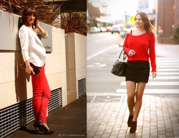 red jeans, coloured denim, styling red colour, 2012 fashion trends