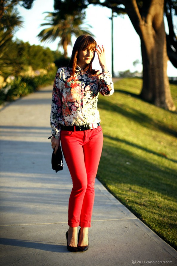 red jeans floral silk blouse summer fashion 2012 Australian fashion blog 594x891 The flowers of my mind