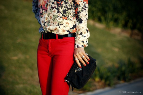 red skinny jeans style, floral print shirt, summer 2012, fashion blog Sydney