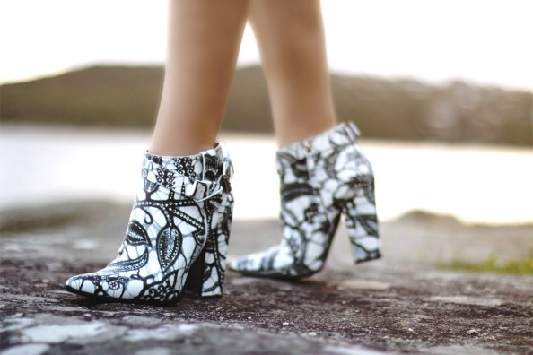 thakoon boots, summer wear, ankle boots, printed leather