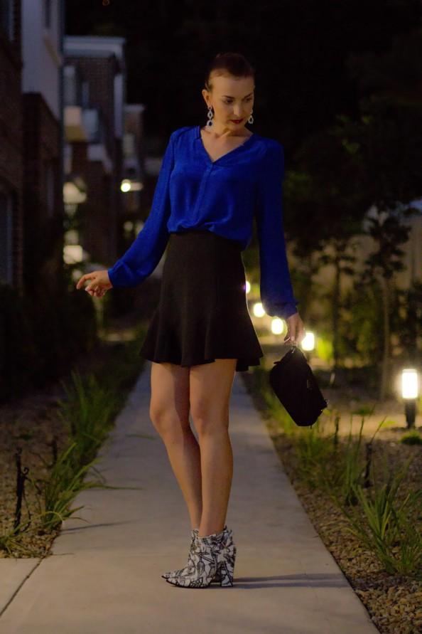 Blue blouse, mini skirt, feminine chic look, night out, sydney fashion blogger