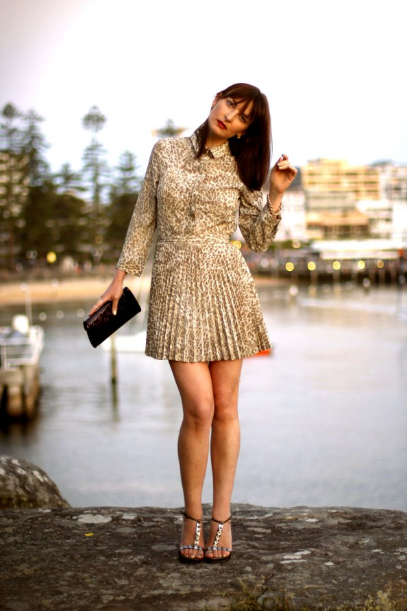 Lover, button up dress, how to wear animal print, romantic style, sydney fashion blog