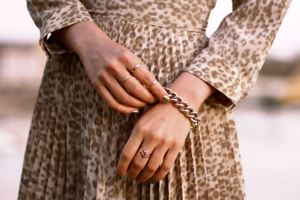 dainty thin gold rings, chanel nail polish, pleated skirt, sydney fashion blog
