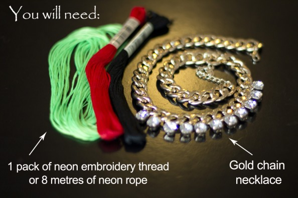 diy neon rope necklace, diy woven, gold chain necklace, fashion blog