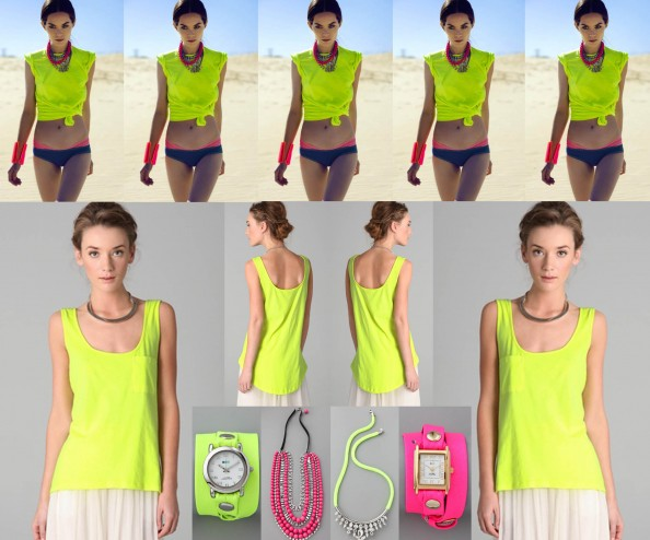 neon top, neon watch, neon necklace, noir jewelry, fashion trend, sydney fashion blog
