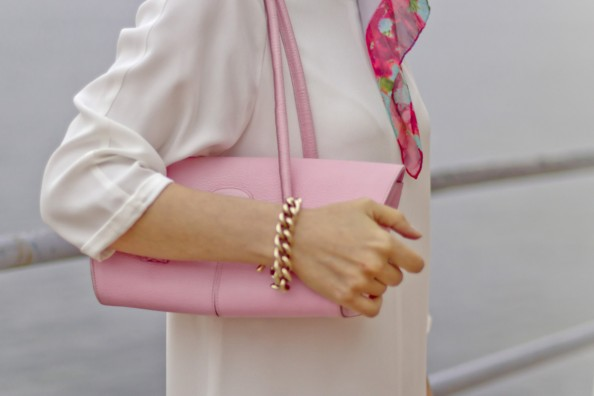 pink tods tote, white zara dress, gold cahin mimco bracelet, fashion spring 2012