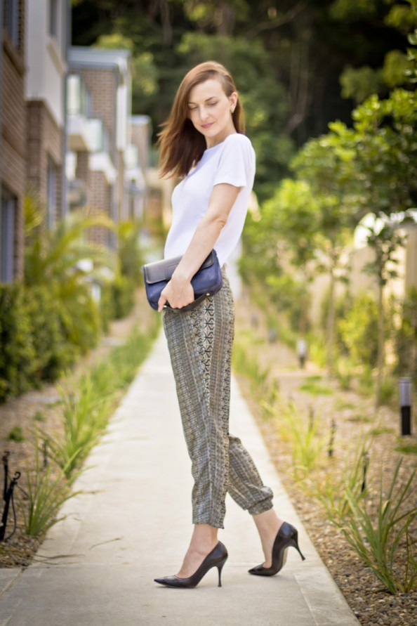 zara navajo print pants, silk haren pants, how to style printed pants, australia fashion blog