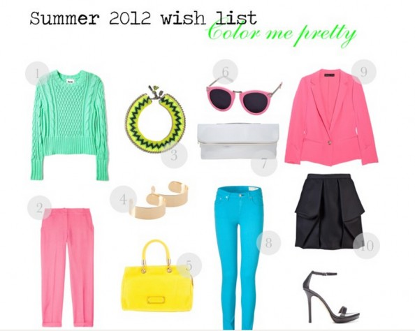 bright colors, pastels, neon, summer 2012 fashion trend, mint, turquoise, yellow hwo to style, sydney fashion blog