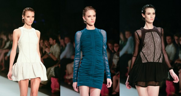camilla and marc, pleated skirt, draped dress, teal and lace dress, fashion trends, lmff 2012, sydney fashion blog