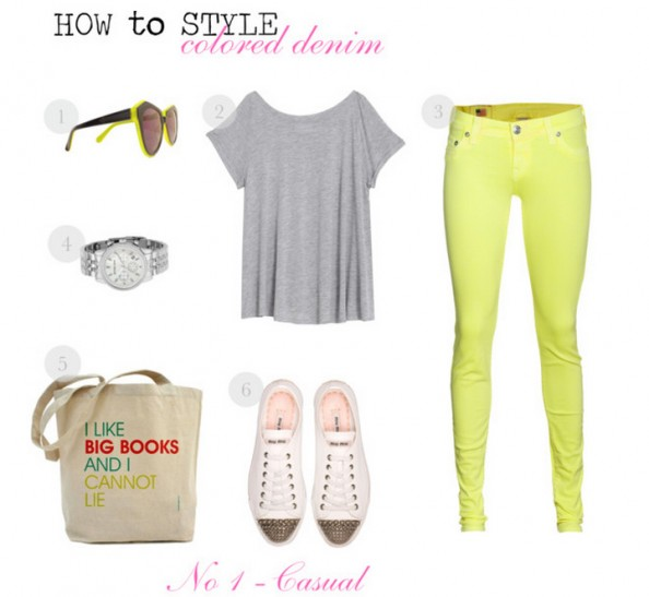how to style colored denim, spring 2012 fashion, neon denim, floral jacket, casual chic style, neon lime, karen walker, sydney fashion blog