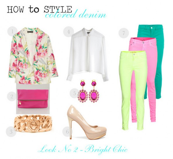 how to wear colored denim, neon denim, floral jacket, pink, neon lime, miu miu earrings, sydney fashion blog