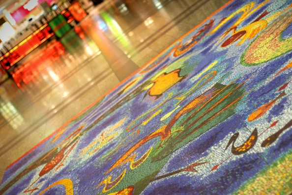 melbourne airport, 2am, colourful floor mosaic