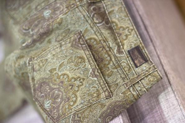 paige denim, paisley print jeans, green jeans
