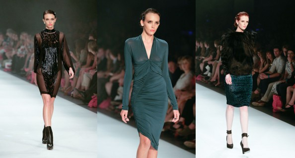 scanlan and theodore, australian fashion designer, lmff 2012 runway 7, teal and balck dresses, sydney fashion blog