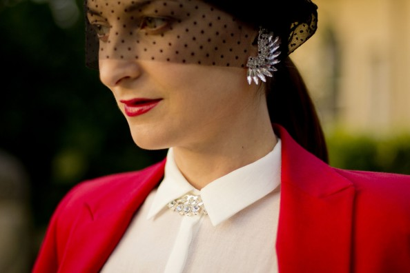 earrings, veiled beaine, red jacket, how to wear beanie, spring fashion trends, sydney fashion blog