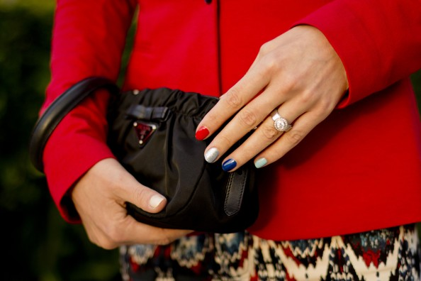 multicoloured nails, prada bag, red jacket, how to style printed pants, sydney fashion blog