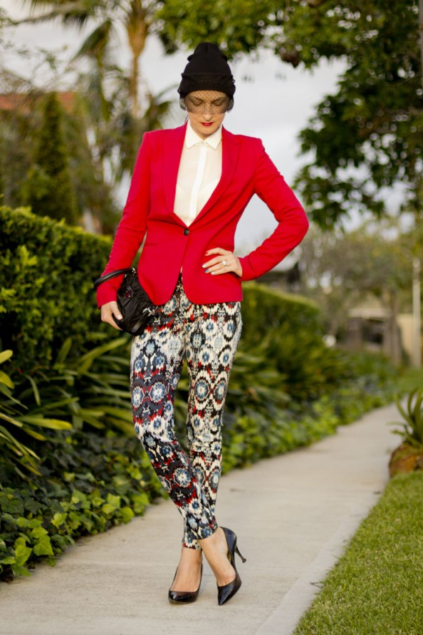 styling red jacket, street style, printed pants Zara, navajo print, australian fashion blog