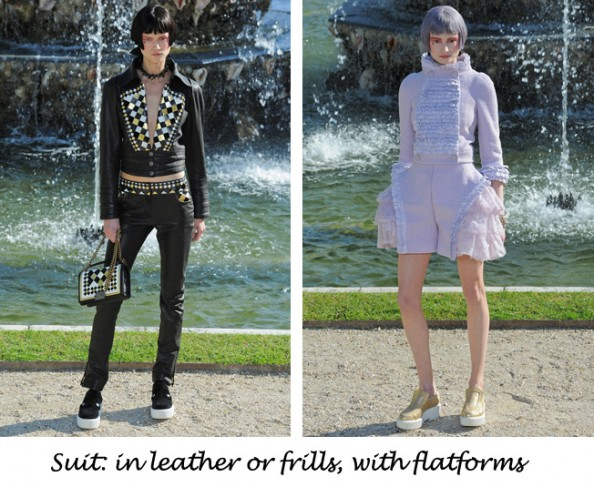 Chanel resort 2013 black leather suit and lilac frills