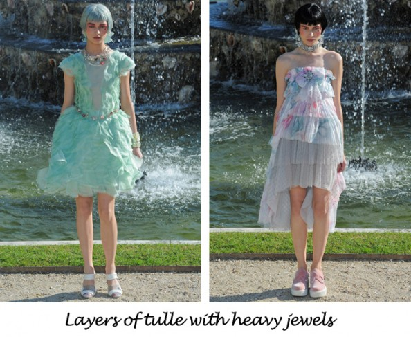 Chanel resort 2013 floral dress and heavy jewels