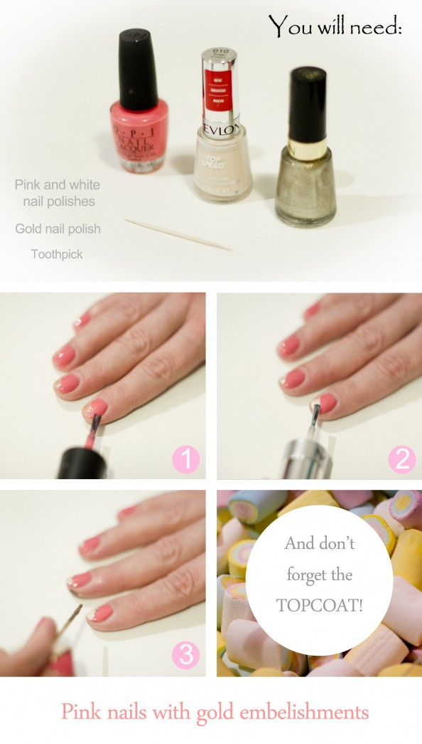 How to nail art pink nails with gold