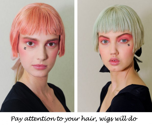 Lindsey Wixon for Chanel 2013 pink and green wigs
