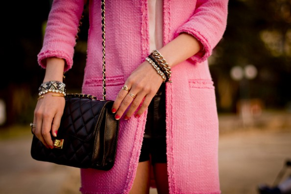 classic chanel handbag and arm party