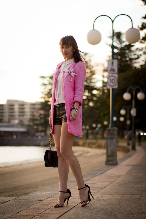 hot pink blazer and short leather shorts