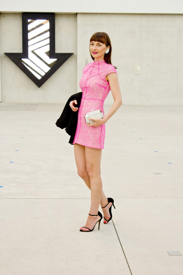 neon pink dress mini