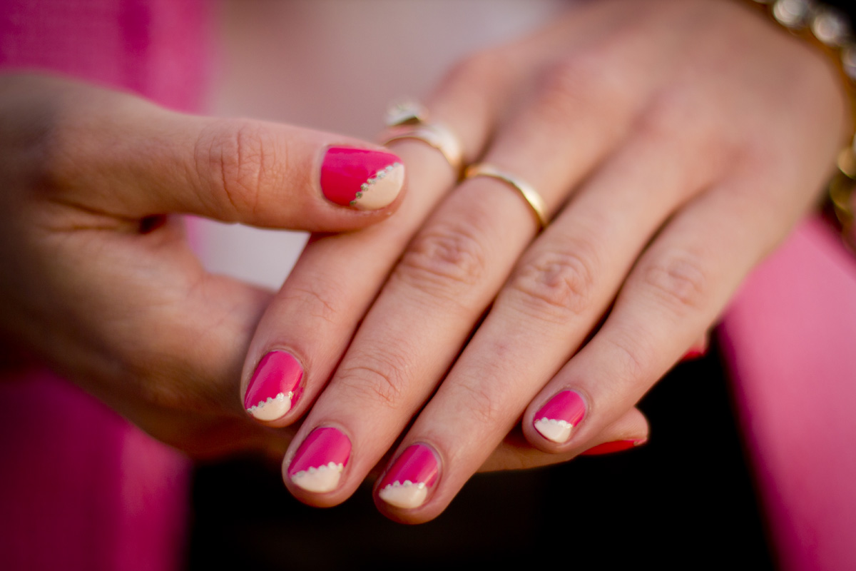 pink nails and how to easy nail art