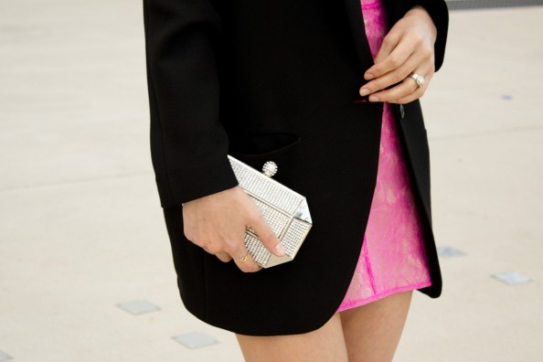 pretty mini clutch and neon dress and oversized jacket
