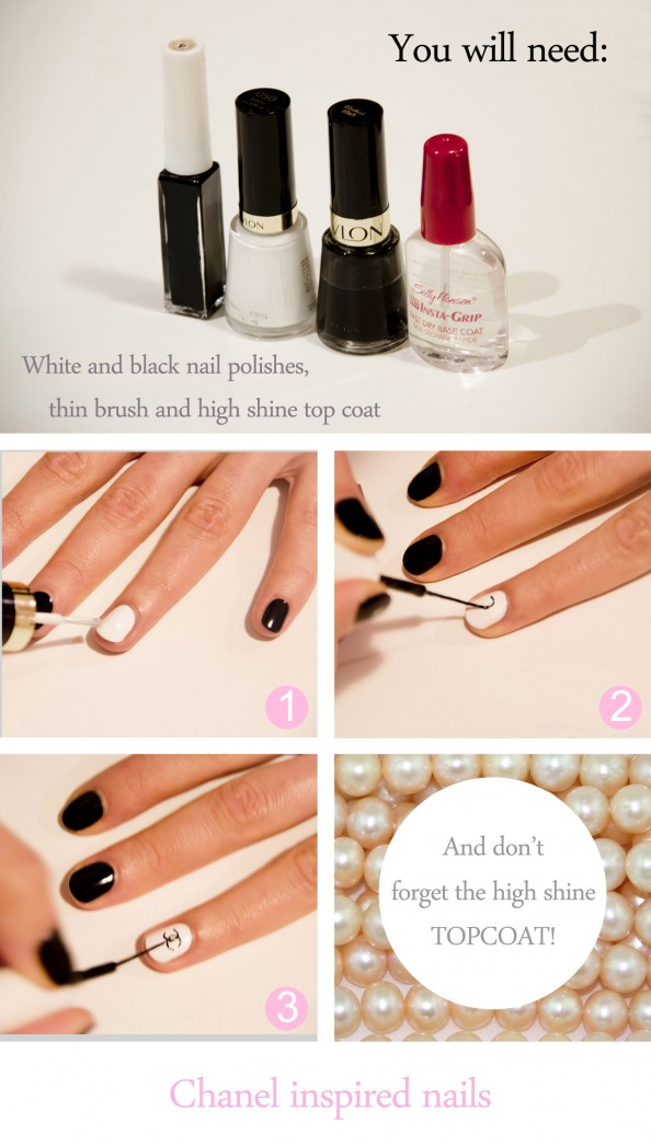 How to DIY balck and white nail art