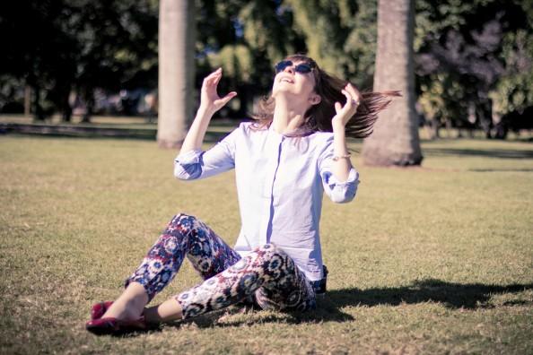 bassike cotton shirt and printed Zara pants