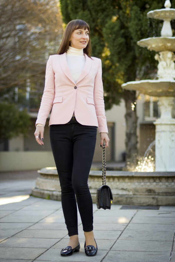 light pink jacket and chanel quilted bag