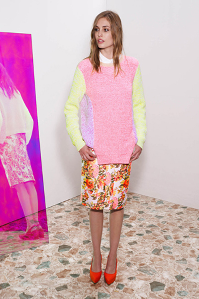neon jumper and floral skirt summer 2013 trend