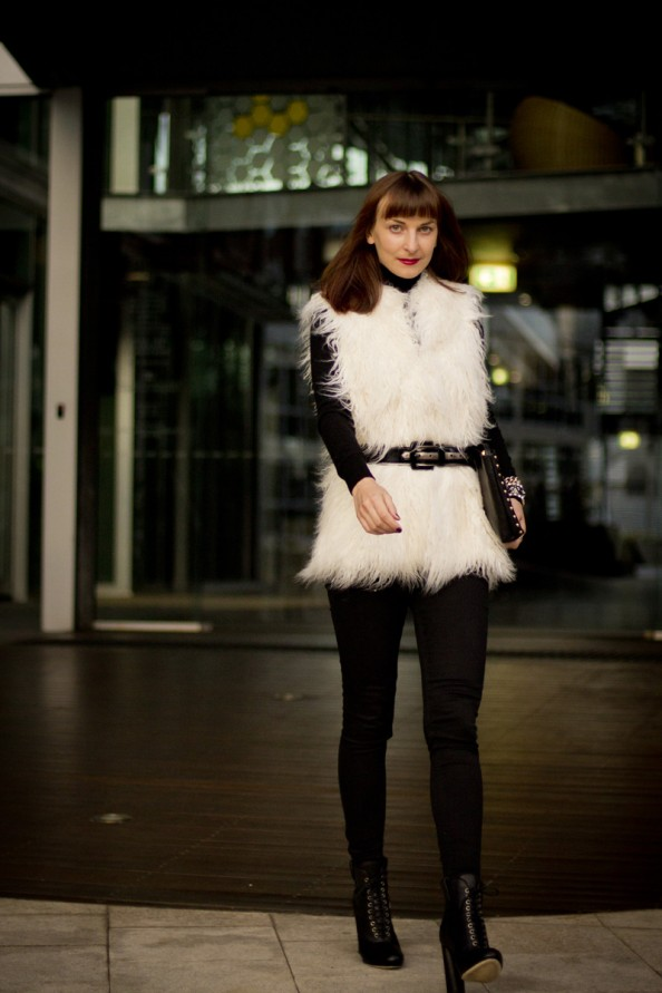 white fur vest for winter