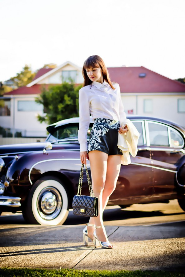 high waisted shorts, phillip lim heels and classical chanel bag