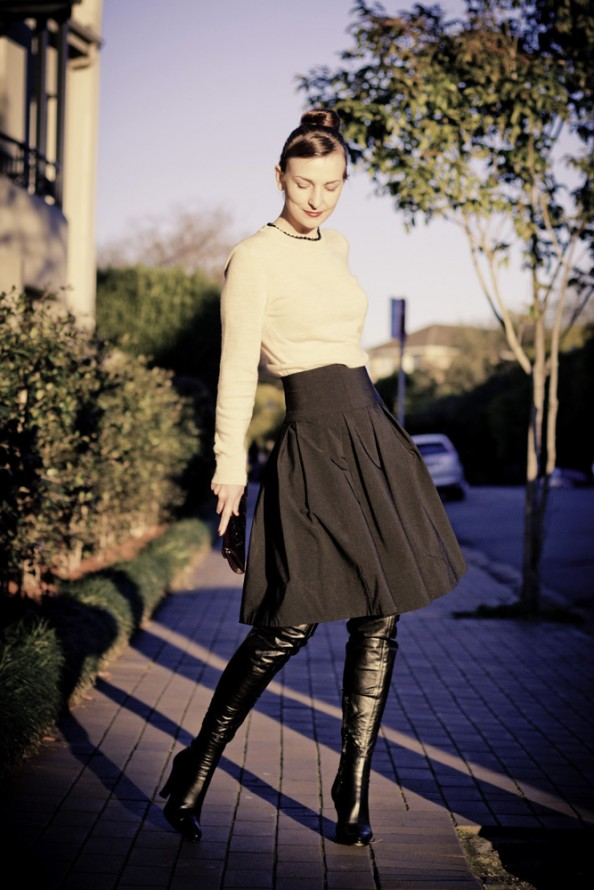 ladylike outfit with high waisted full skirt and over the knee boots