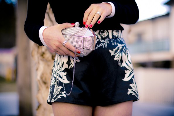 Shakuhachi high waisted shorts and Forver new clutch