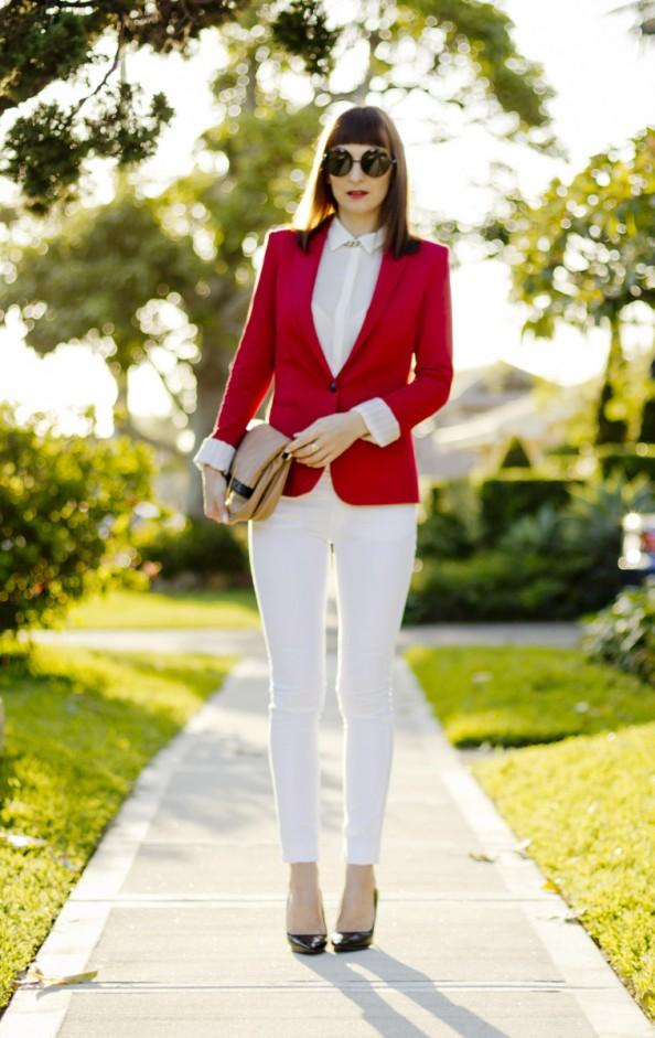 Zara red blazer, white skinny jeans