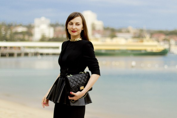 black leather peplum blazer, chanel bag