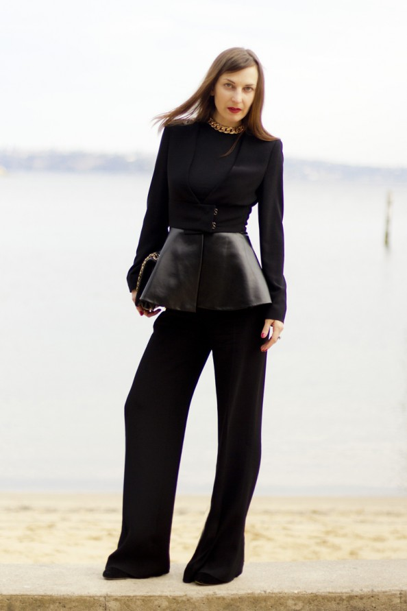 black leather peplum blazer, peplum top