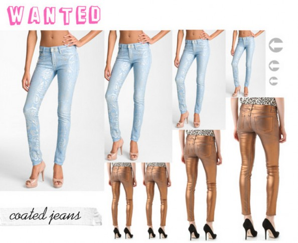 coated jeans, metallic jeans