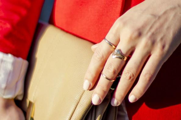 dainty rings, red blazer 1