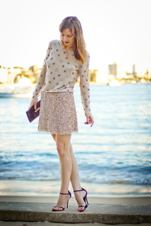 embellished top, sequin skirt 2