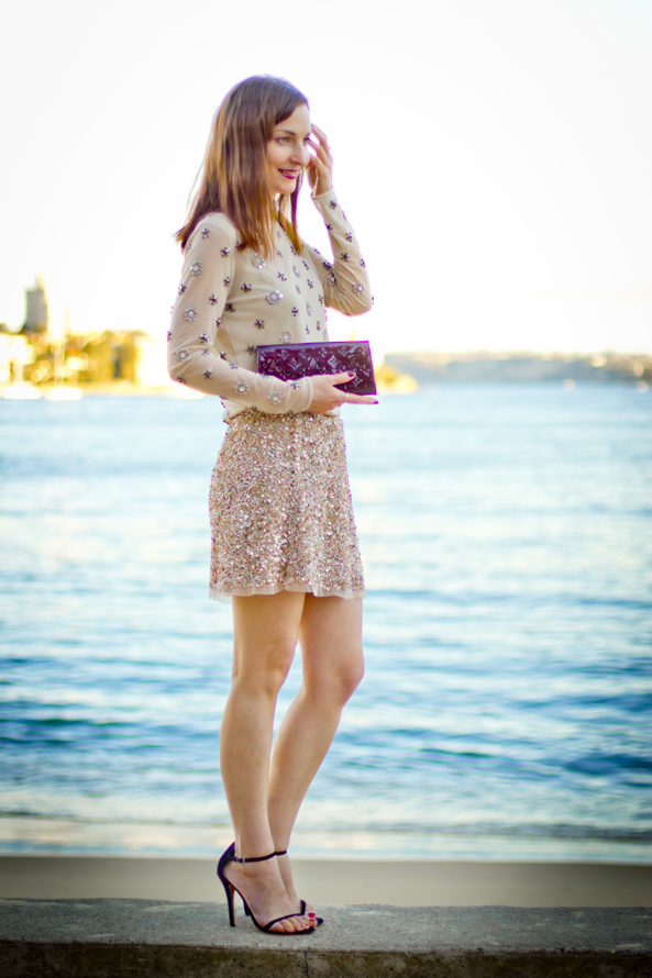 embellished top, sequin skirt