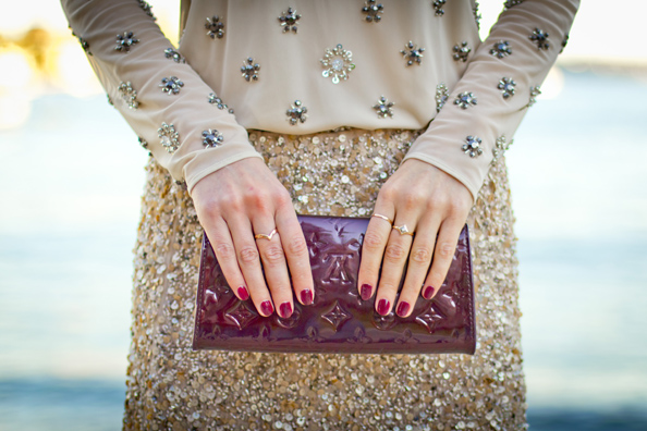 gold sequins, louis vuitton clutch